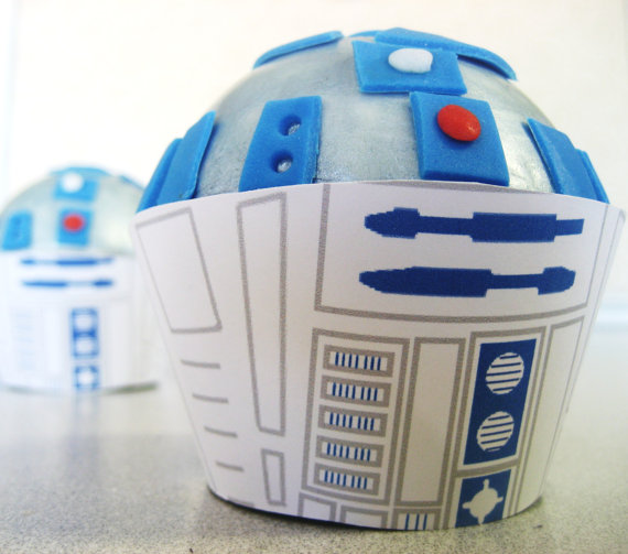 Custom Listing Reserved for babyalexflores  - R2D2 Star Wars CUPCAKE Toppers and Wrappers - Edible Birthday, Shower, Bridal, Wedding