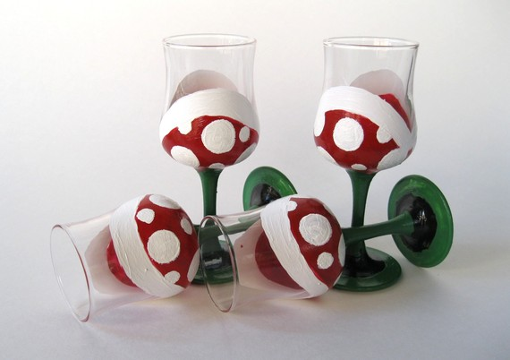 Piranha Plant Short Champagne Glasses-Set of 4