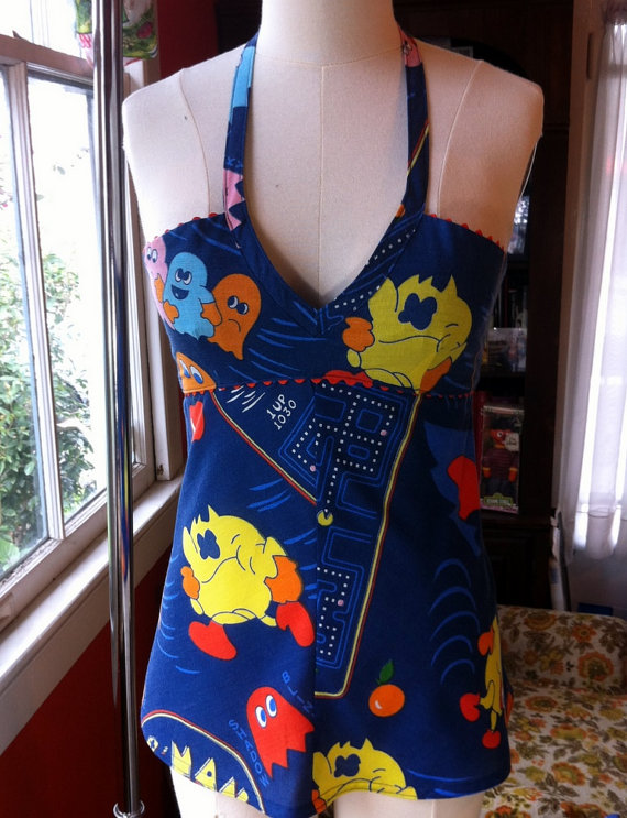 Pac Man Halter Top OOAK Upcycled