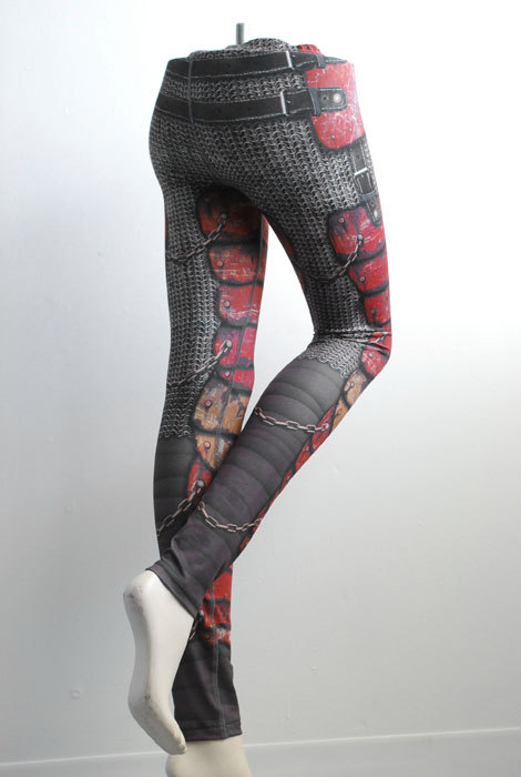 Armour Leggings - Size XXL Red - Printed Chainmail and Metal Tights - Armor plate look