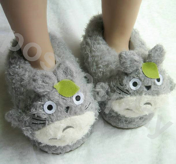 Adult  Totoro  FLEECE Girls Women Men  Slippers Shoes  Warm with love