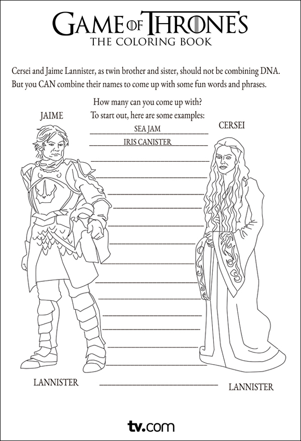 These Game Of Thrones Activity Colouring In Book Sample Pages From TV Are Highly Amusing