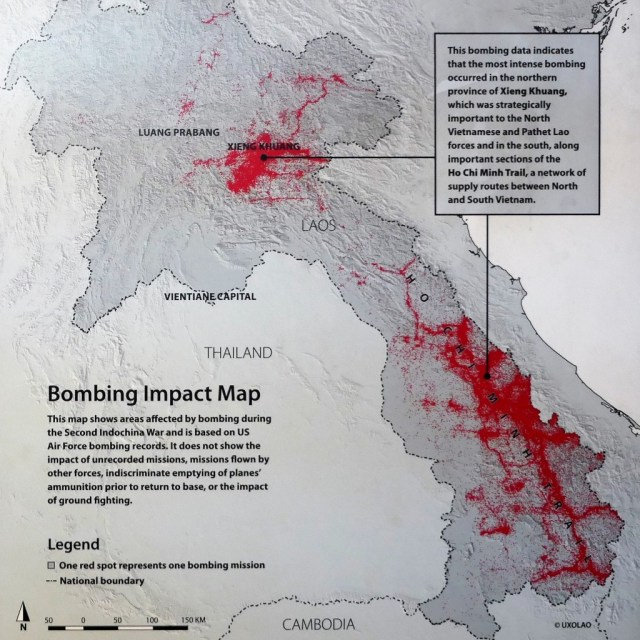 Stark bombardierte Flächen in Laos (Quelle UXO LAO)