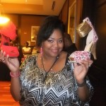 Nikka Shae showing off her prized picks for the eve