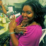 Showing off my OPI candy nails at the pampering station