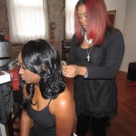 Hair stylist Nina Akpan working her magic