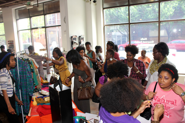 Event attendees shopping the fab selection of jewelry fashions and accessories