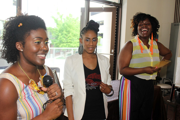 Jeannell introduces makeup and beauty experts Bridgette Gant of Miss B Locs (c) and Jazmine Jade of The Art of Jade Inc by Fashion Rouge (r)