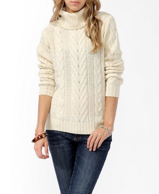 Forever 21 Cable Knit Turtleneck Sweater Oh Nikka Top Atlanta