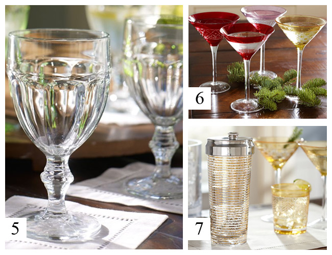 Pottery Barn - Cafe Goblets, Jewel Cut Martini Glasses, Gold Stripe Cocktail Shaker