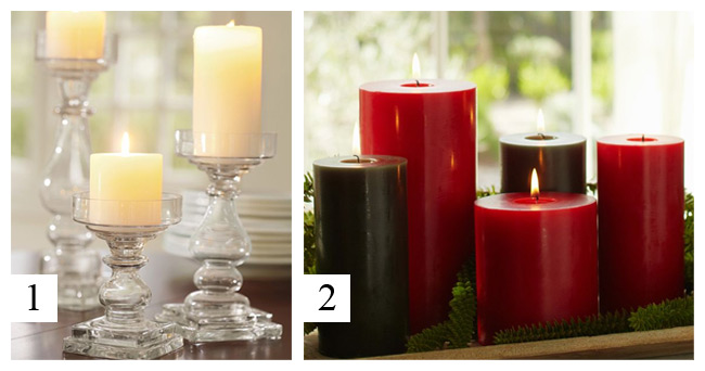Pottery Barn - Holiday Pillar Candles, Clear Glass Pillar Holders