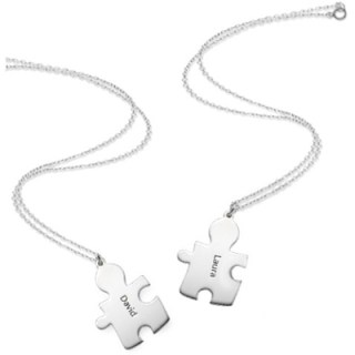 Silver Custom Engraved Puzzle Piece Necklaces Autism Awareness Collection