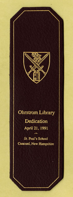 Leather bookmark created for the dedication of Ohrstrom Library
