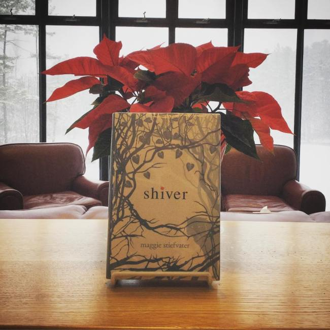 And appropriate title for a book display today as the first snow of the season gently falls on Lower School Pond outside of Baker Reading Room. #ohrstromlibrary #snowfall #shiver #maggiestiefvater #pointsettia #millville #iamsps #bakerreadingroom @maggie_stiefvater