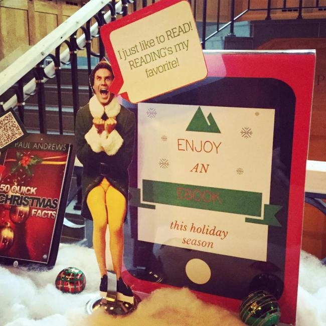 """I just like to READ!"" - we know the feeling! Check out an ebook for the holiday break - our OverDrive display has some holiday selections to get you started. #ohrstromlibrary #read #ebook #ebooks #overdrive #librarydisplay #librariesofinstagram @overdrive_libs"