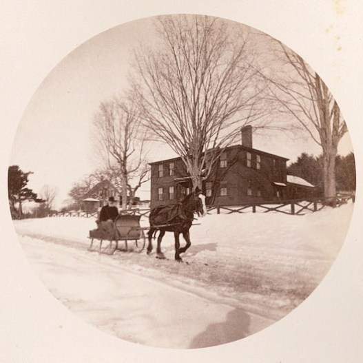 "A one horse open sleigh! This photo from 1890 was taken by a St. Paul's School student using a Kodak No. 2 camera, and was labeled ""An old farmer"". #ohrstromlibrary #ohrstromlibrarydigitalarchives #sleigh #onehorseopensleigh #1890 #kodakno2 #stpaulsschool #snow #horse #horsedrawnsleigh #concordnh #throwbackthursday #iamsps"