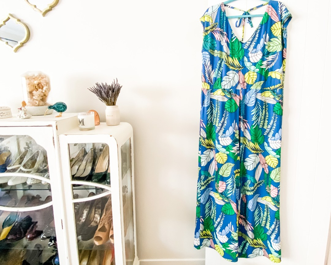 Closet Core Sallie Jumpsuit - cobalt blue jumpsuit in viscose jersey hangs on the back of a door. Sewn by Oh Sew Fearless
