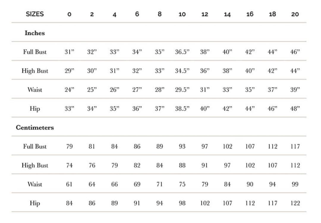 Sallie Jumpsuit by Closet Core - Size chart