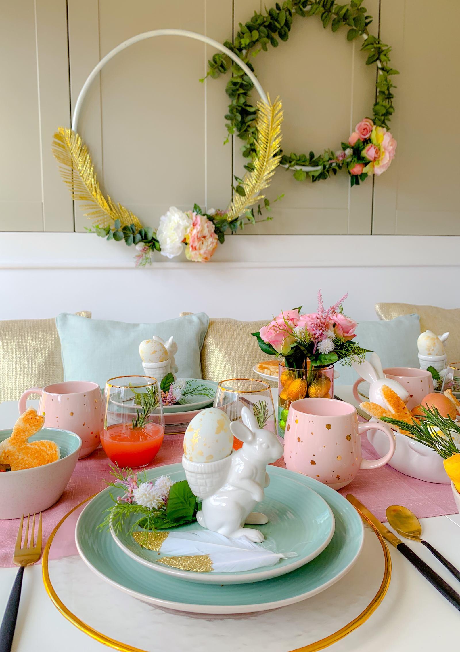 Easter breakfast table pastels bunny