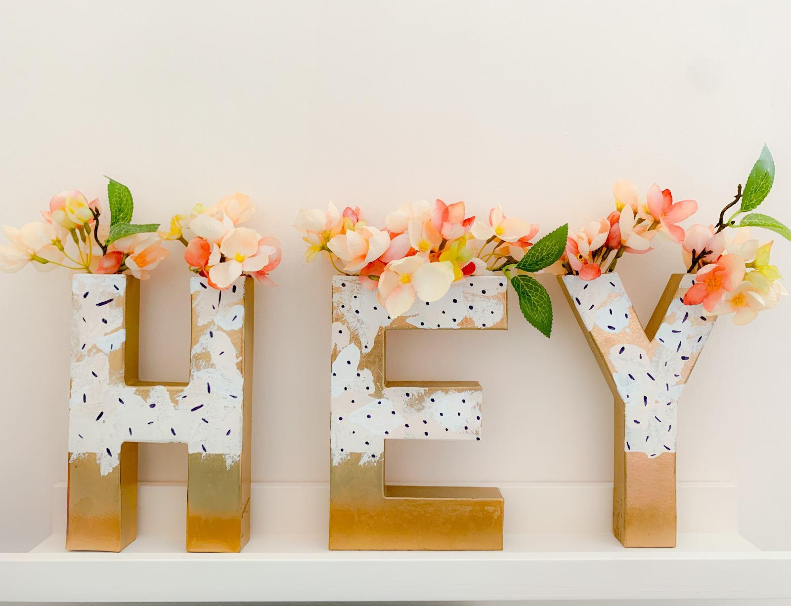 DIY Hey vase letters
