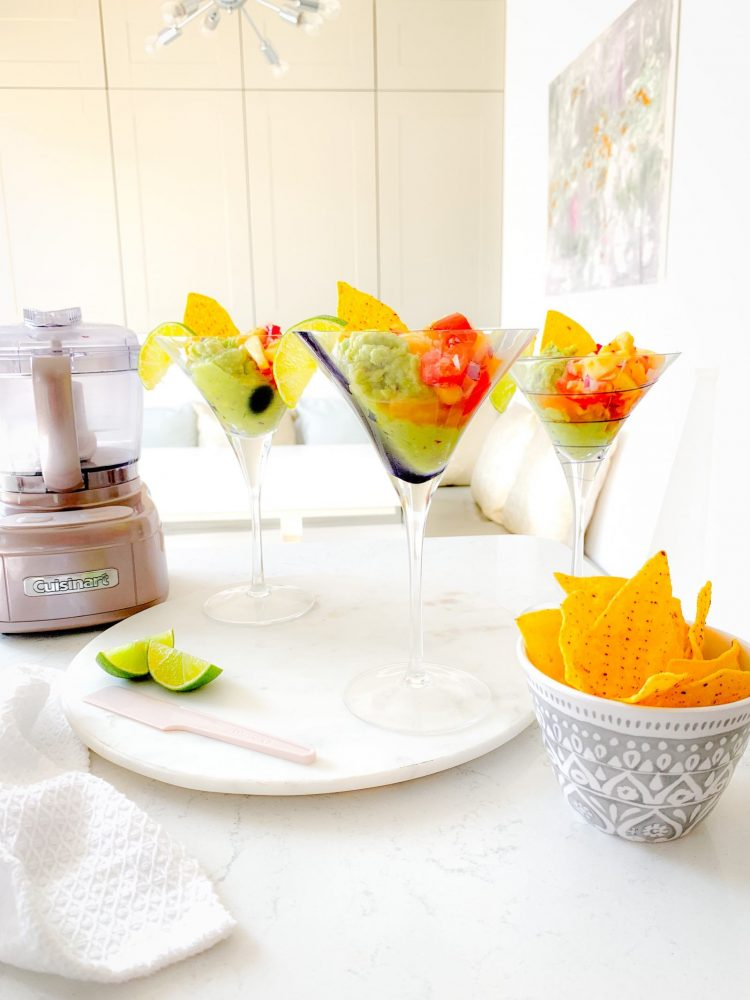 SALSA AND GUACAMOLE RECIPE SERVED IN COCKTAIL GLASSES