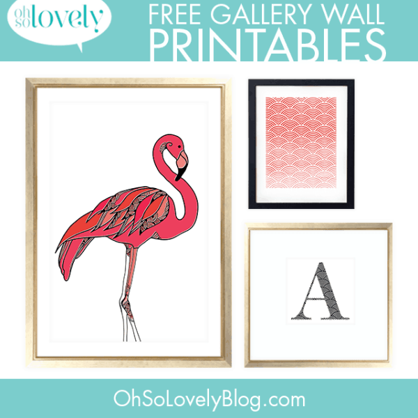 FREEBIES  //  FLAMINGO + MONOGRAM GALLERY WALL PRINTABLES