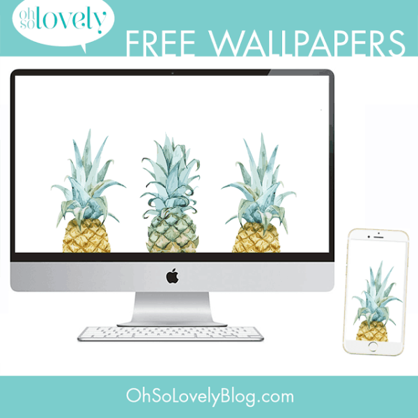 FREEBIES  //  PINEAPPLE WATERCOLOR WALLPAPERS