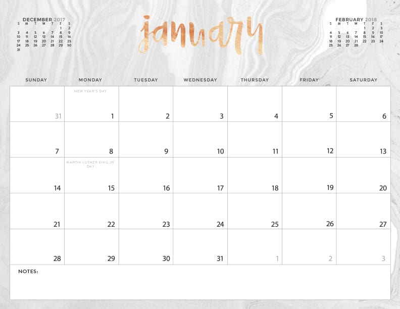 printable monthly 2018 calendar