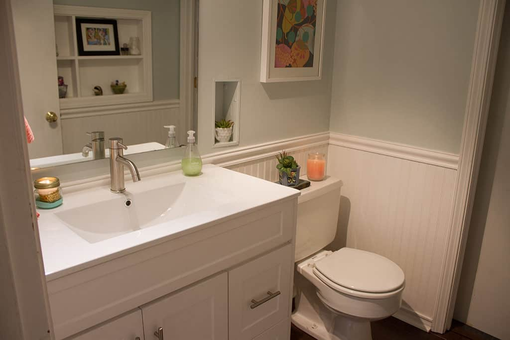 Join Audrey Of Oh So Lovely Blog On A Quick And Affordable In Process Tour Of Her Half Bathroom Update Featuring Cabinets Quick