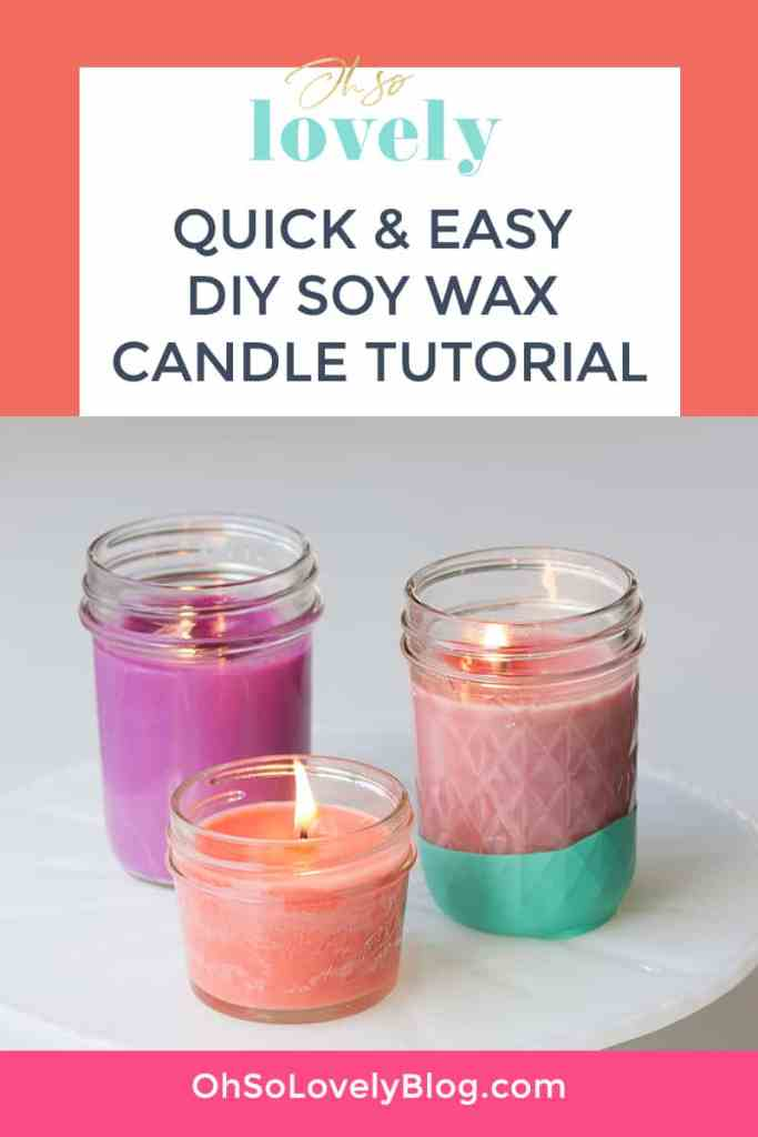 Oh So Lovely Blog shares an easy DIY soy wax candle tutorial. Make beautiful candles for your home or gift giving!