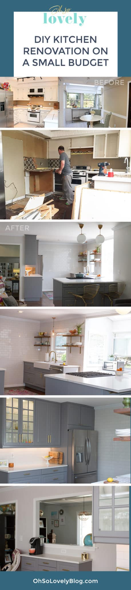 Audrey of Oh So Lovely blog shares the 2+ year journey of a DIY kitchen remodel on a small budget. Check out all the the before, during and after photos + product details!