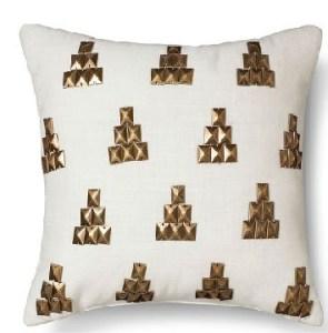 Gold Metallic Stud Pillow white color Cotton