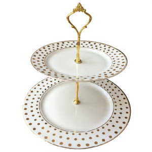 Dessert Tray in White and Gold Dots