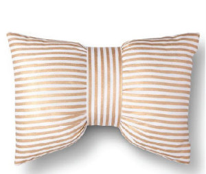 White Gold Striped Bow Tie