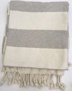 Fabric Gray Striped Throw