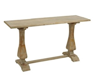 distressed natural pedestal console table