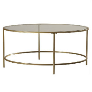 gold glass round coffee table