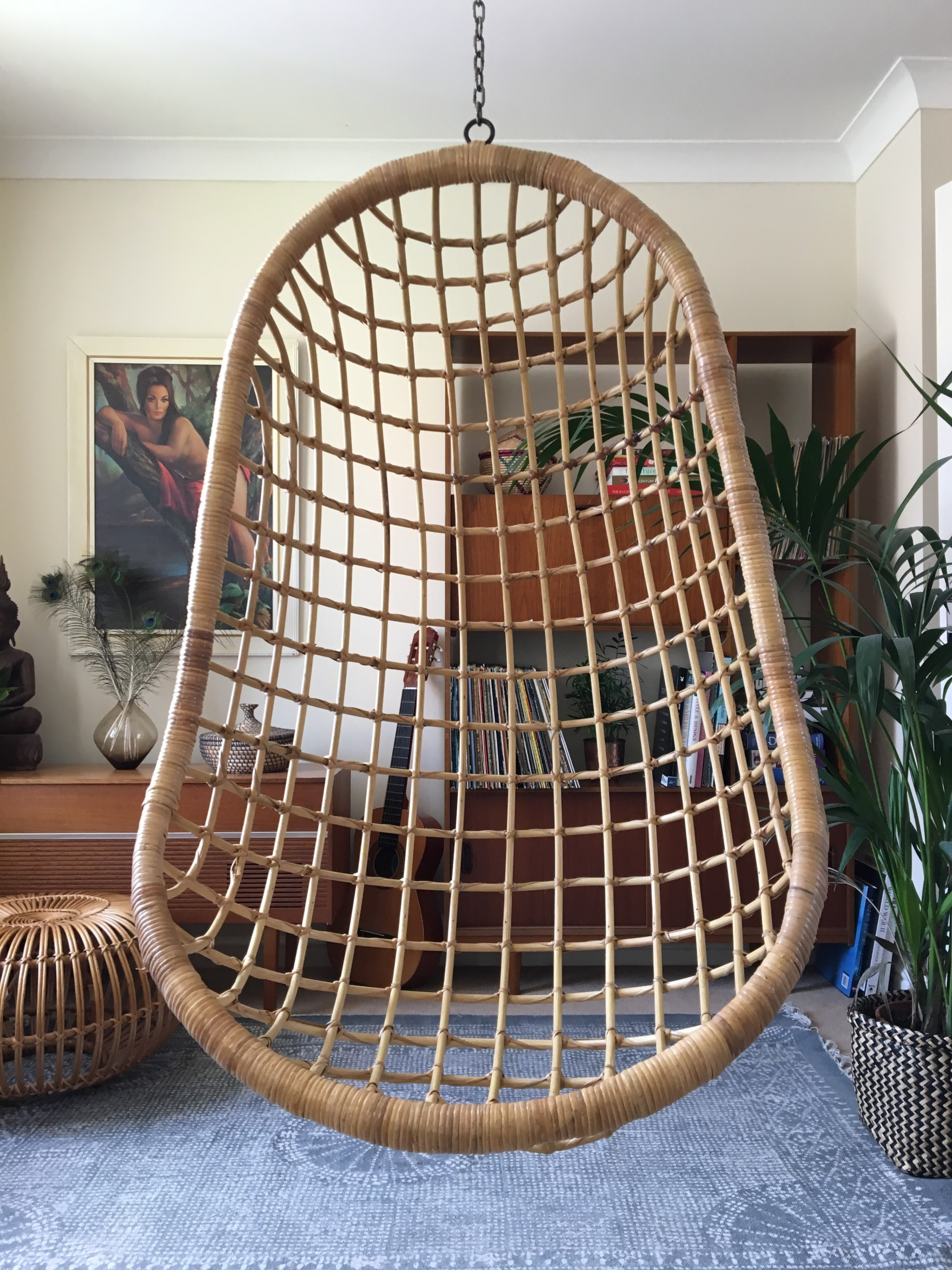 white bohemian hanging chair executive deals 1970s boho vintage wicker