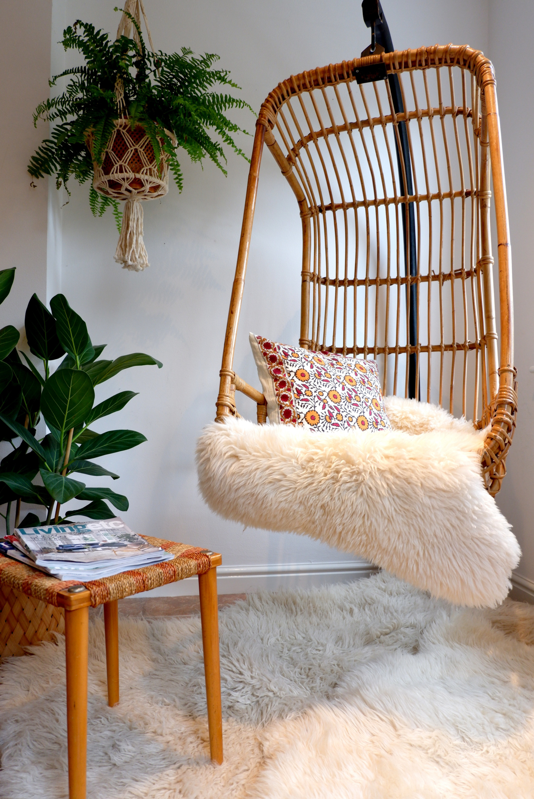 white bohemian hanging chair barber chairs 1970s boho vintage wicker