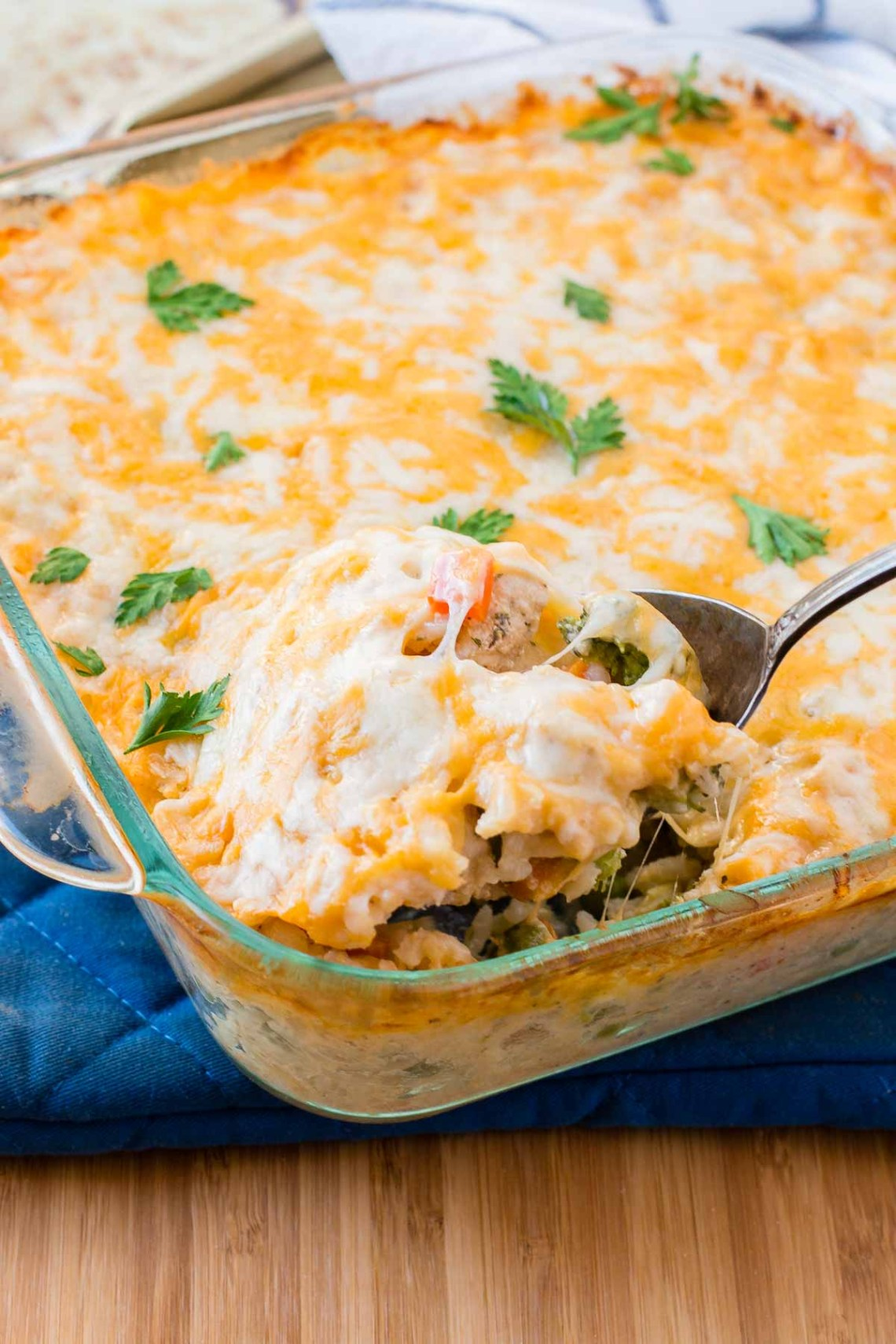 Cheesy Chicken and Rice Casserole - Oh Sweet Basil