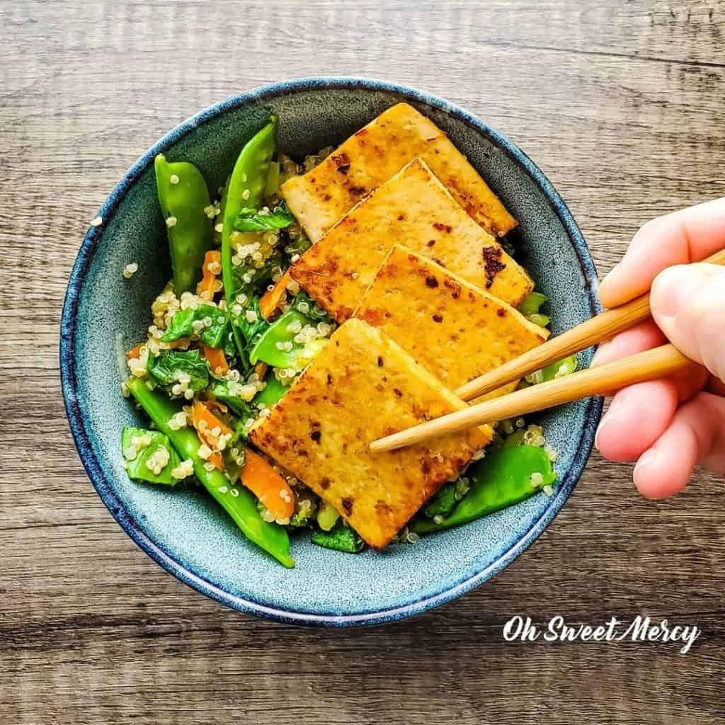Garlic, Ginger Lime Marinated Tofu and Quinoa