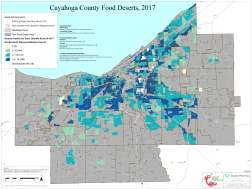 """This poster sized map depicts areas in Cuyahoga County meeting the criteria for """"Food Deserts"""" (greater than 1/2 mile from a supermarket, and in a high poverty area). The choropleth map displays an index of death rates from diseases linked to diet. An additional layer shows """"Distressed Areas"""", having especially high rates of poverty and/or low access to vehicles. The analysis was conducted in 2017 by the Cuyahoga County Planning Commission for the County Board of Health, under its Creating Healthy Communities program. View the Project"""