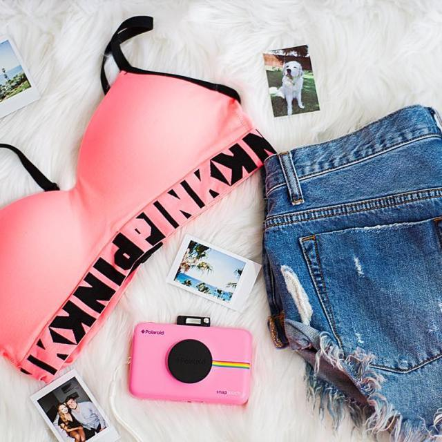 Summer essentials! vspink cool bra  meetpolaroid camera  Whathellip