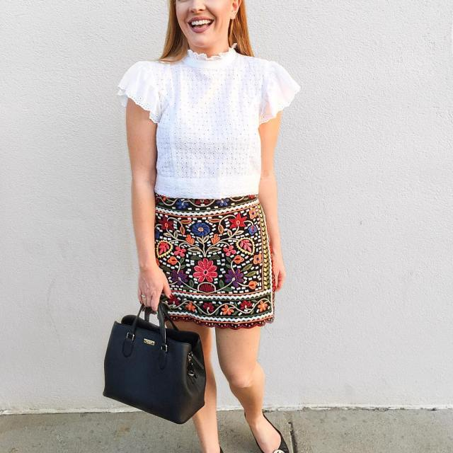 Feeling Parisian in this embroidered skirt and lace crop tophellip