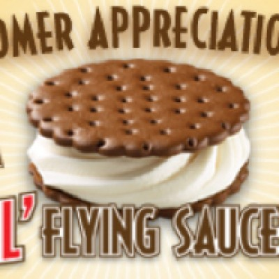 Carvel Free Lil Flying Saucer Ice Sandwich Today Only Oh
