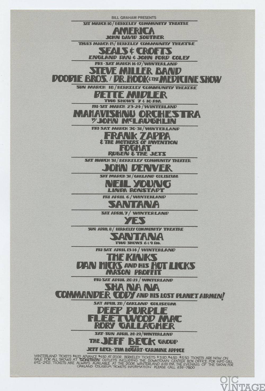 Bill Graham Presents Flyer 1973 Mar Apr Frank Zappa Deep Purple Neil Young John Denver