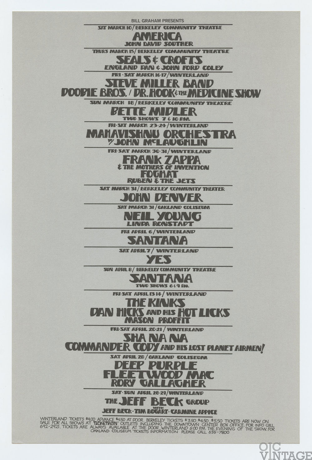 Bill Graham Presents Flyer 1973 Mar Frank Zappa Santana Neil Young