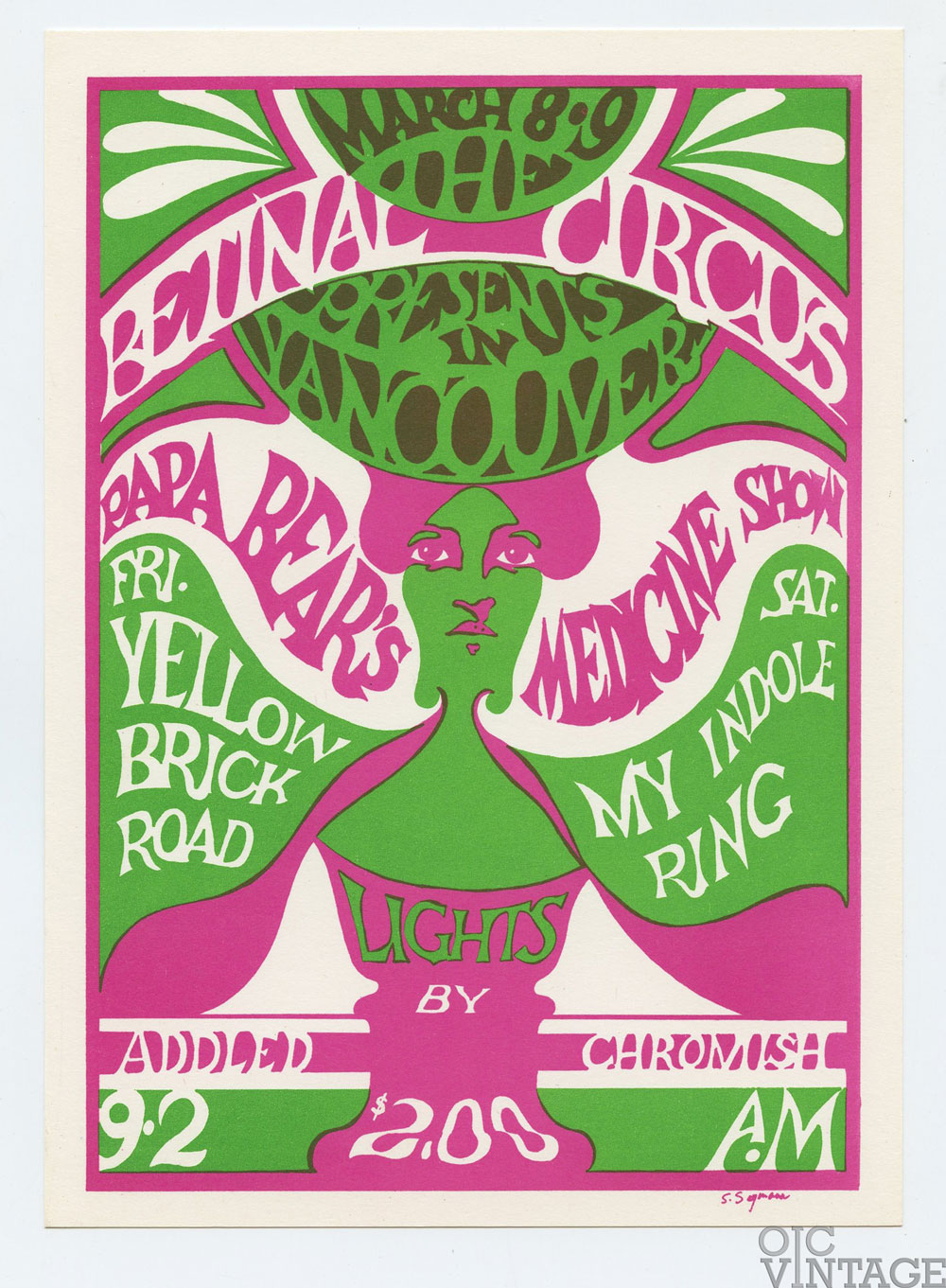 Retinal Circus Postcard 1968 Mar 8 Papa Bear's Medicine Show Vancouver Canada