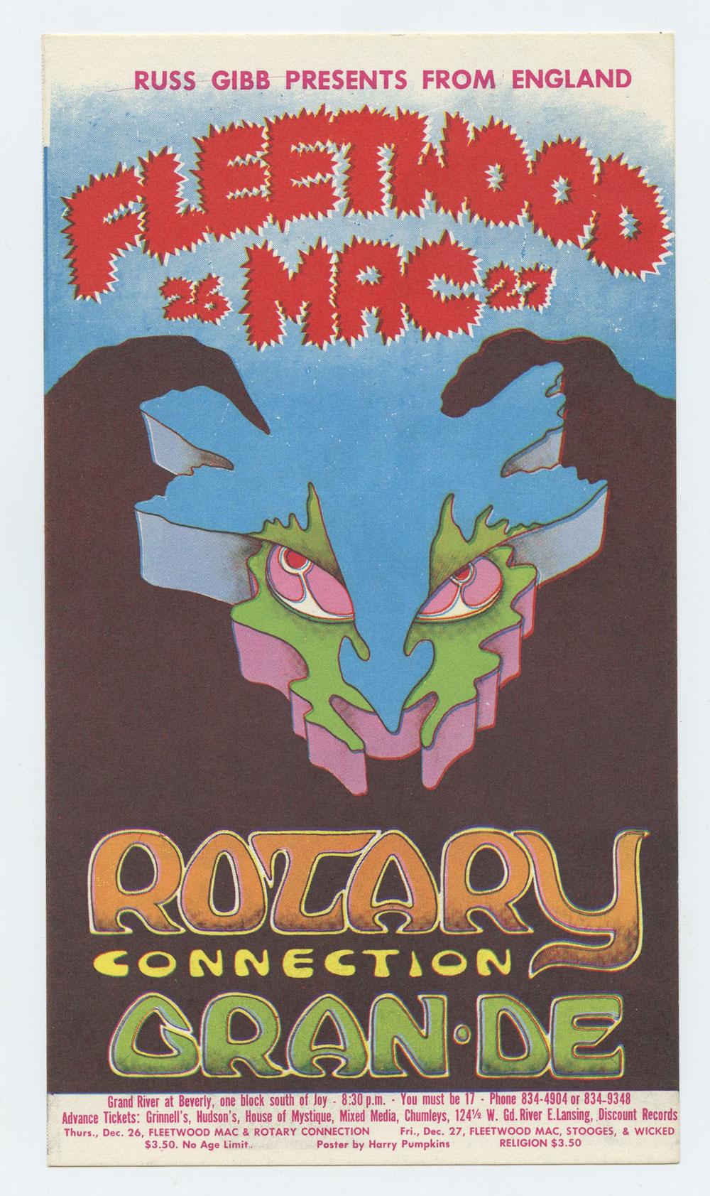 Grande Ballroom 1968 Dec 26 Postcard Fleetwood Mac Rotary Connection