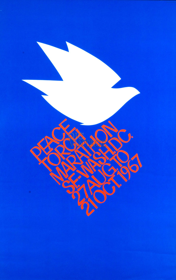 Peace Torch Marathon Poster San Francisco to Washington DC 1967 Vintage